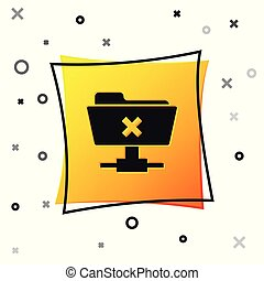 Black FTP cancel operation icon on white background. Concept of software update, transfer protocol, router, teamwork tool management, copy process. Yellow square button. Vector Illustration