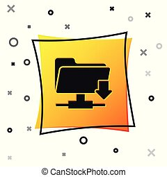 Black FTP folder download icon isolated on white background. Concept of software update, transfer protocol, router, teamwork tool management, copy process. Yellow square button. Vector Illustration