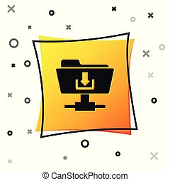 Black FTP folder download icon on white background. Concept of software update, transfer protocol, router, teamwork tool management, copy process. Yellow square button. Vector Illustration