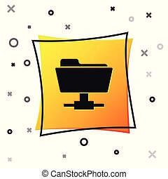 Black FTP folder icon isolated on white background. Concept of software update, ftp transfer protocol, router, teamwork tool management, copy process, info. Yellow square button. Vector Illustration