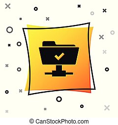 Black FTP operation successful icon on white background. Concept of software update, transfer protocol, teamwork tool management, copy process. Yellow square button. Vector Illustration
