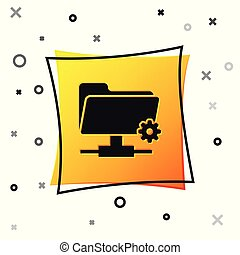 Black FTP settings folder icon isolated on white background. Concept of software update, transfer protocol, router, teamwork tool management, copy process. Yellow square button. Vector Illustration