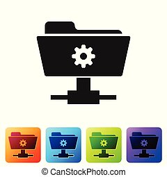 Black FTP settings folder icon on white background. Concept of software update, transfer protocol, router, teamwork tool management, copy process. Set icon in color square buttons. Vector Illustration