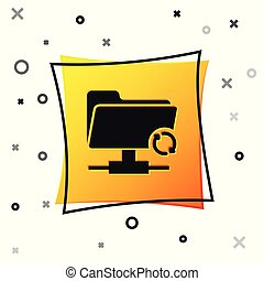Black FTP sync refresh icon isolated on white background. Concept of software update, transfer protocol, router, teamwork tool management, copy process. Yellow square button. Vector Illustration