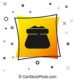 Black Full sack icon isolated on white background. Yellow square button. Vector