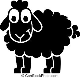 Black funny sheep cartoon