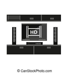 Black furniture for TV set isolated on white. Up-to-dates...