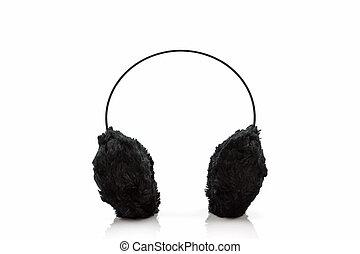 Black fuzzy winter ear muff . - Black fuzzy winter ear muff ...