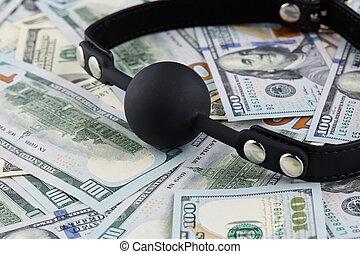 Black gag on american dollars banknotes.