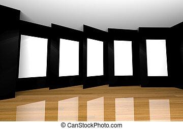 black gallery room