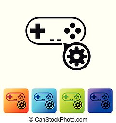 Black Gamepad and gear icon isolated on white background. Adjusting app, service concept, setting options, maintenance, repair, fixing. Set icon in color square buttons. Vector Illustration