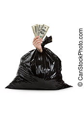 Black Garbage Bag and dollar, concept of recycling