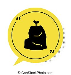 Black Garbage bag icon isolated on white background. Yellow speech bubble symbol. Vector Illustration