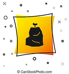 Black Garbage bag icon isolated on white background. Yellow square button. Vector Illustration