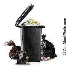 Black garbage bin on the white