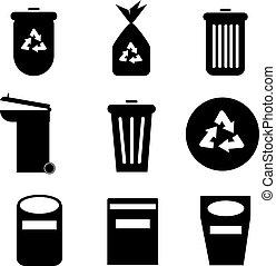 black garbage Icons.