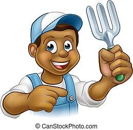 Black Gardener Cartoon Character