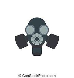 Black gas mask icon, flat style