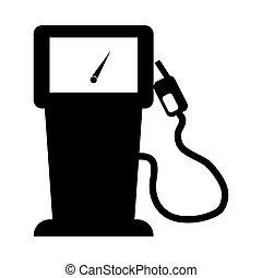 Black gas pump with a gauge image