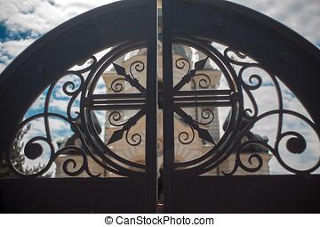 Black gate in Foros in Crimea Russia