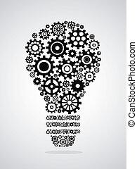 black gear light bulb