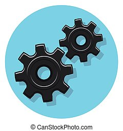black gears icon in circle with shadow