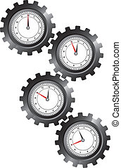 black gears with clock