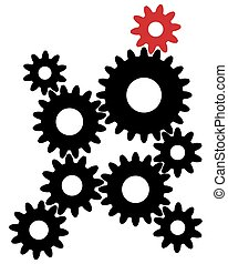 Black gears with red leader