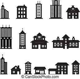 black , gebouw, 3, set, witte