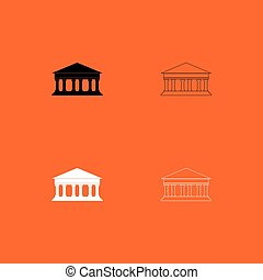 black , gebouw, bank, pictogram, set, witte