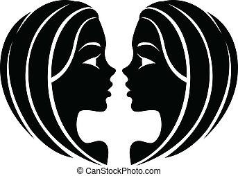 Black Gemini Zodiac Star Sign - Illustration of Black Gemini...