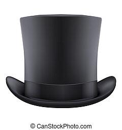 black gentleman hat cylinder. Isolated on white background....