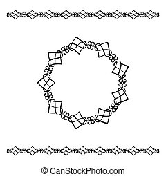 Black geometrcal border and circle frame