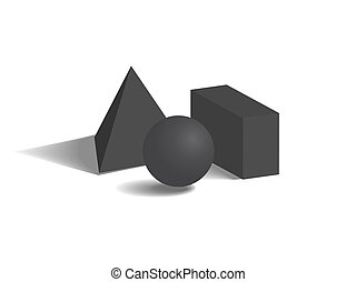 Black Geometric Figures Set on White Background