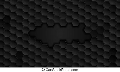 Black geometric hexagons abstract technology motion background