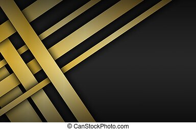Black geometric material background with gold overlapped stripes. Dark abstract corporate design template with place for your text. Modern vector illustration