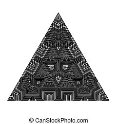 Black Geometric Triangle Isolated on White Background