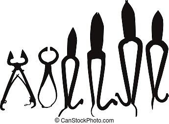 black , gereedschap, silhouette