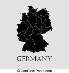 Black Germany map - vector illustration
