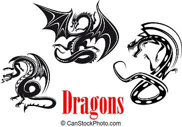 black , gevaar, draken