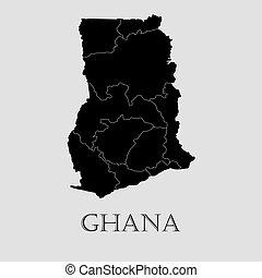 Black Ghana map - vector illustration