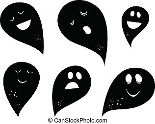 Black Ghost silhouettes isolated on white background - Happy...