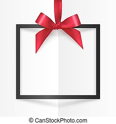 Black gift box frame with red silky bow and ribbon on white folded paper background