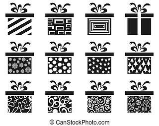 black gift box icon set