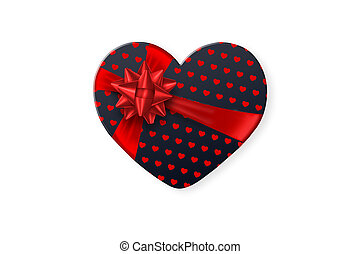 Black gift box in the shape of a heart with a festive red bow, isolated on white background. Romance, Valentine's Day, love.