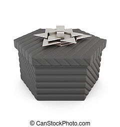Black gift box isolated on white background. 3d rendering
