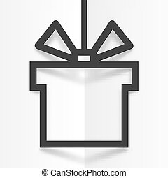 Black gift box line silhouette frame with shadow on white folded paper background