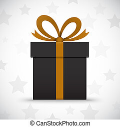 Black gift box on white background with stars