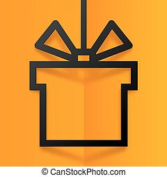 Black gift box silhouette frame with stylized bow at orange folded background