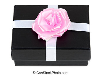 black gift box with bow